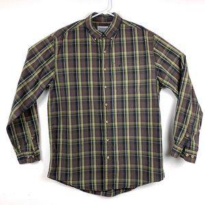Carhartt Mens Button-Down Shirt Brown Plaid L